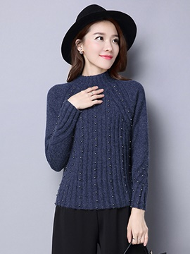 Ericdress Crew Neck Vertical Stripe Bead Knitwear