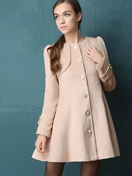 Ericdress Solid Color Single-Breasted Round Neck Coat
