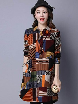 Ericdress Color Block Single-Breasted Loose Blouse
