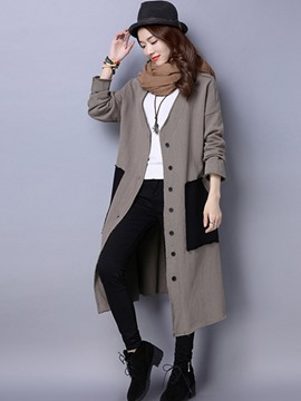 Ericdress Color Block V-Neck Single-Breasted Trench Coat