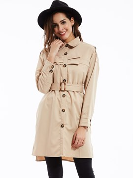 Ericdress Plain Lapel Single-Breasted Trench Coat