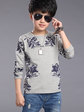 Ericdress Floral Print Long Sleeve Boys T-Shirt