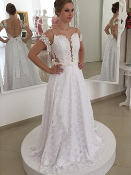 Ericdress Charming Illusion Neckline Lace Wedding Dress