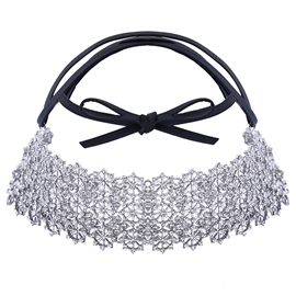 Ericdress Rhinestone Flowers Leather Choker Necklace