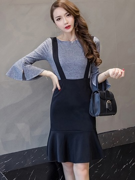 Ericdress Ruffles Sweater Suspenders Mermaid Skirt Suit