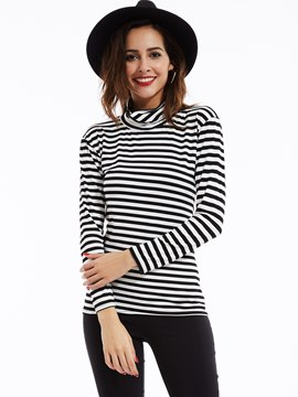 Ericdress Slim Turtleneck Drop-Shoulder Striped T-shirt