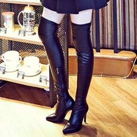 Ericdress Sexy Black Point Toe Knee High Boots