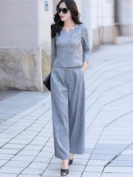 Ericdress Solid Color Pleated Wide Legs Leisure Suit