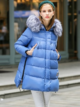 Ericdress Solid Color Faux Fur Collar Casual Plus Size Coat