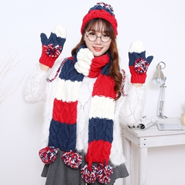 Ericdress Color Block Woolen Yarn Scarf & Hat & Gloves