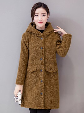 Ericdress Straight Solid Color Fleece Coat