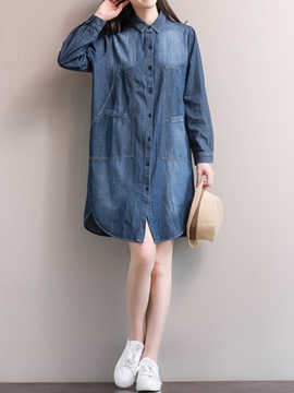 Ericdress Denim Pocket Patchwork Single-Breasted Loose Casual Dress