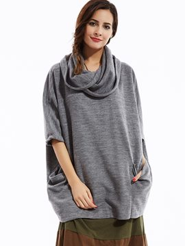 Ericdress Loose Heap Collar Batwing Sleeves Knitwear