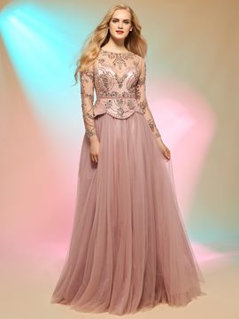 Ericdress Luxurious Beaded Scoop Neck Floor Length A Line Long Sleeve Prom Dress
