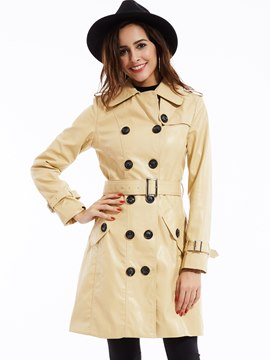 Ericdress Slim Double-Breasted PU Trench Coat