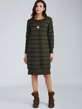 Ericdress Round Neck Striped Sweater Dress