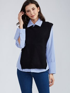 Ericdress Pullover Sleeveless Knitwear And Lapel Shirt Suit