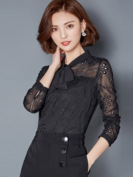 Ericdress Tie Bow Front Lace Crochet Blouse