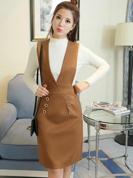 Ericdress High Neck Sweater Suspenders Dress Suit