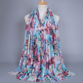 Ericdress Big Flowers Printed Women's Cotton Scarf