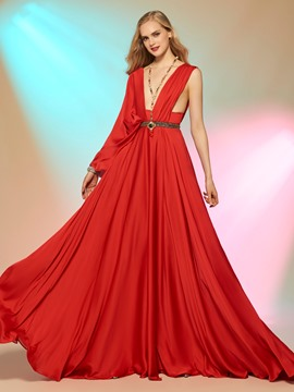 Ericdress Unique Design Sexy Deep Neck Beaded Court Train Evening Dress