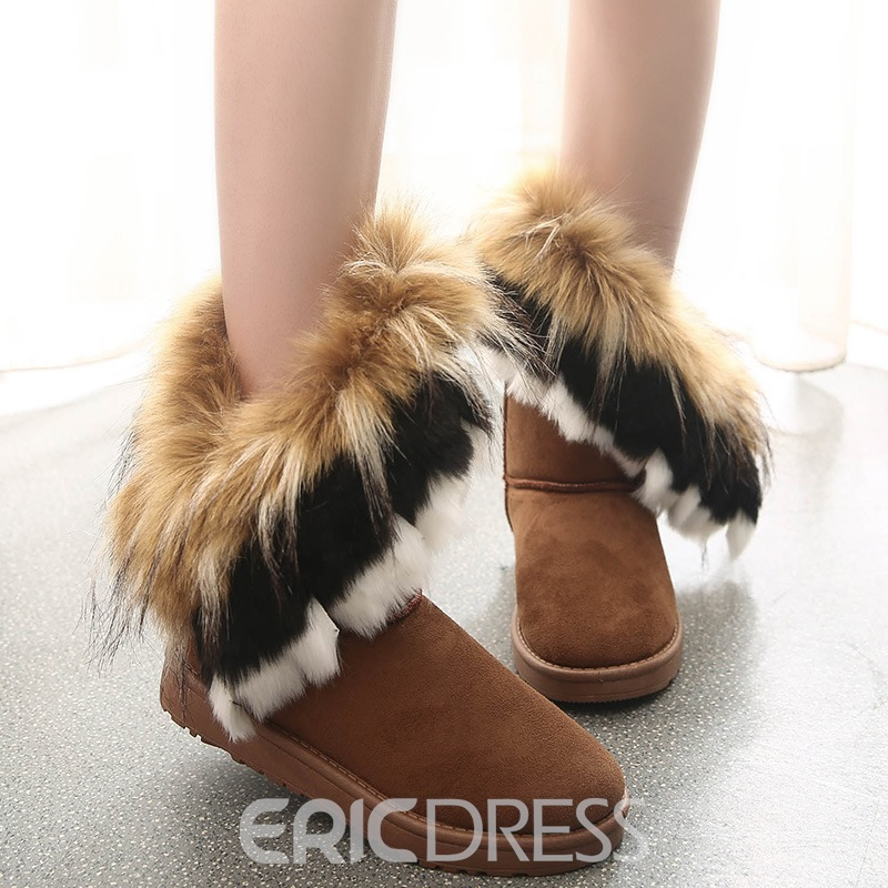 Ericdress Charming Furry Slip on Snow Boots