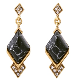 Ericdress Alloy Natural Stone Rhombus Earrings