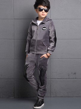 Ericdress Wing Applique Hooded Boys Leisure Outfit