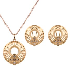 Ericdress Golden Round Diamante Design Two-Pieces Jewelry Set