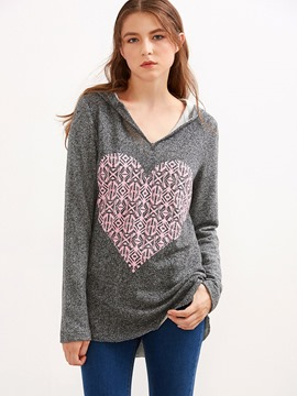 Ericdress Loose Color Block Heart Shape Casual Hoodie