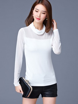 Ericdress Heap Neck Solid Color T-Shirt