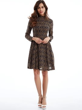 Stand Collar Geometric Pattern Day Dress