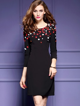 Ericdress 3D Floral Appliques Round Collar Bodycon Dress