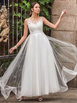 Ericdress Casual Scoop Appliques A Line Wedding Dress
