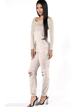 Ericdress Solid Color Lace-Up Slim Jumpsuits Pants