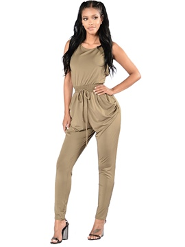 Ericdress Backless Pleated Suspenders Slim Jumpsuits Pants