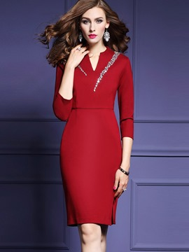 Ericdress Diamond Embroidery V-Neck Patchwork Sheath Dress