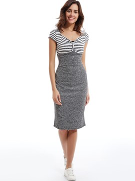 V-Neck Stripe Patchwork Bodycon Dress