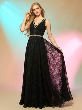 Ericdress Fancy A Line V Neck Crystal Beaded Floor Length Lace Long Prom Dress
