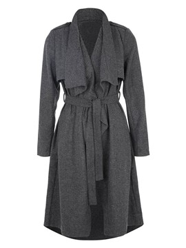 Ericdress Solid Color Slim Casual Trench Coat