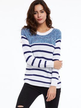 Ericdress Color Block Round Neck Striped Knitwear