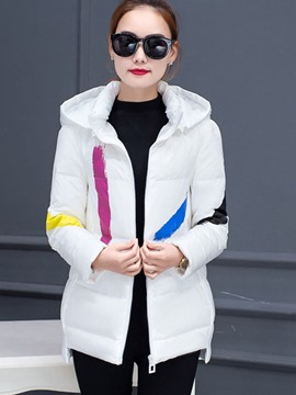 Ericdress Loose Color Block Hooded Coat