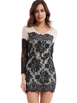 Round Neck Patchwork Lace Dress