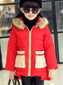 Ericdress Pocket Hooded Zipper Girls Coat