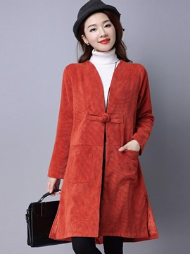 Ericdress Slim V-Neck Solid Color Coat