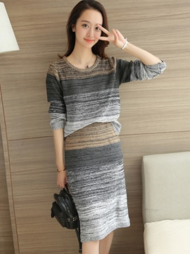 Ericdress Stripe Print Long Sleeve Sweater Skirt Suit