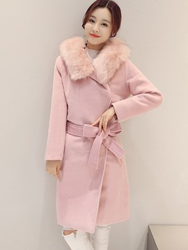 Ericdress Solid Color Faux Fur Collar Bowknot Slim Coat