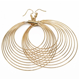 Ericdress Golden Multi Circle Design Earrings