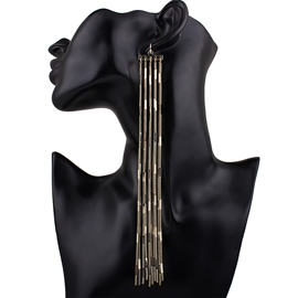 Ericdress Exaggerated Long Golden Chain Earrings