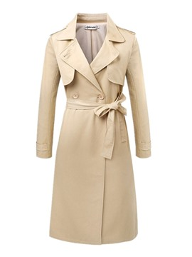 Ericdress Slim Solid Color Trench Coat